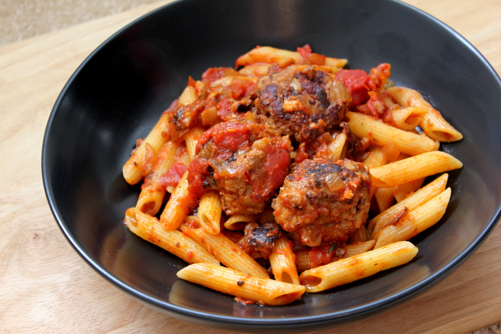 Pasta and meatballs with a hint of cumin