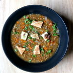 Vegetable lentil coup with garlic naan croutons