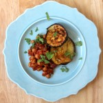 chickpeas in a spicy tomato sauce with roasted eggplant
