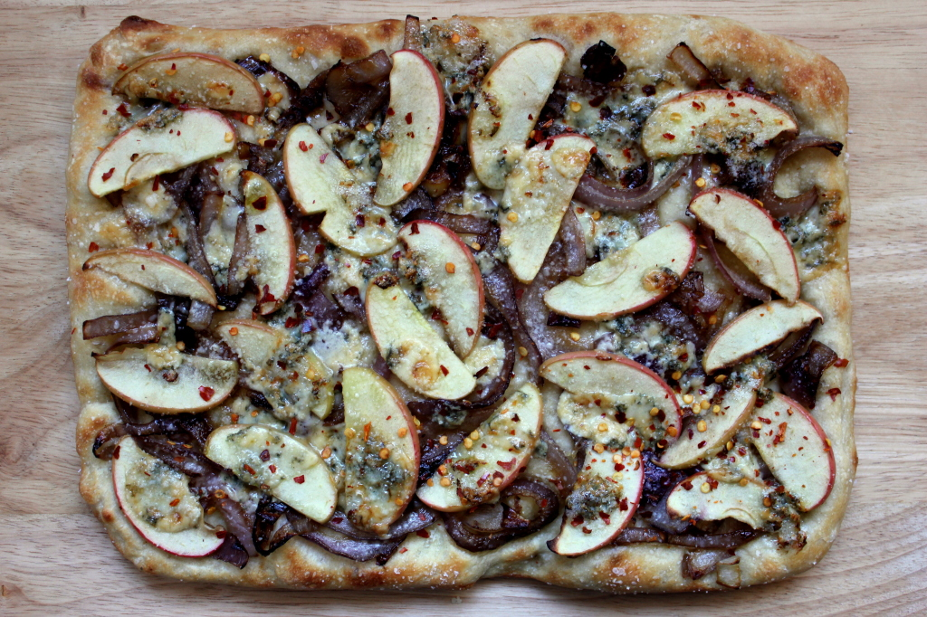 Apple onion and blue cheese pizza